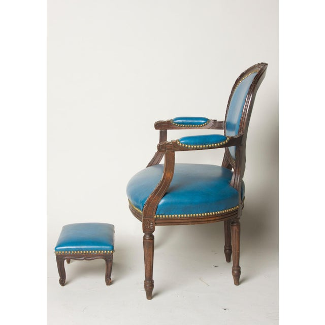 Early 20th Century Vintage Fauteuil in Blue Leather Chair & Footstool For Sale - Image 4 of 8