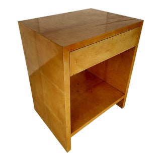Mid-Century Modern Parchment Cover Side Table with Drawer