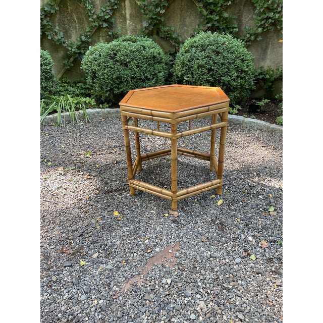 Vintage Bamboo Octagonal Side Table For Sale In New York - Image 6 of 9