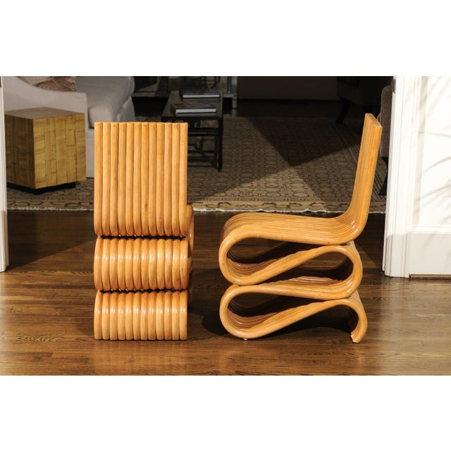 Exquisite Set of 8 Radiant Custom-Made Rattan Dining Chairs, Circa 1995 For Sale - Image 4 of 13