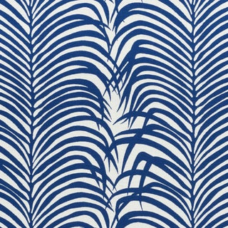 Schumacher Zebra Palm Indoor/Outdoor Fabric in Navy For Sale