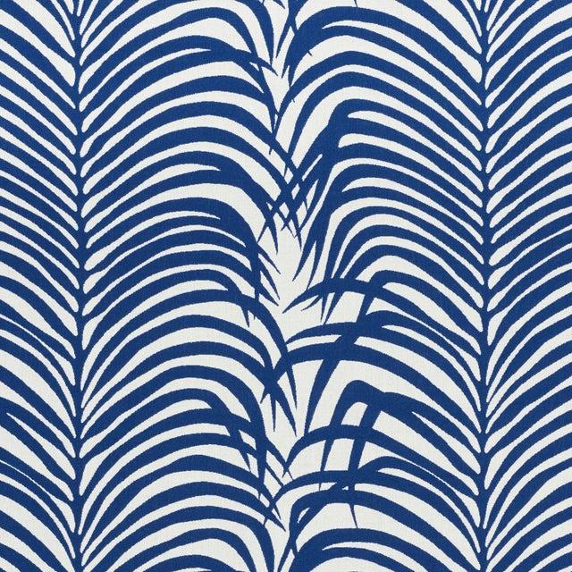 Schumacher Zebra Palm Indoor/Outdoor Fabric in Navy For Sale