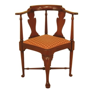 1990s Vintage Hickory Chair Co. Queen Anne Mahogany Corner Chair For Sale