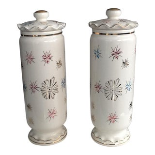 Antique Cream Colored Ginger Jars - A Pair For Sale