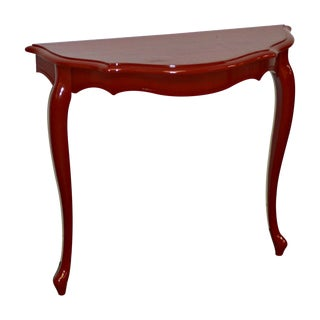 Red Demilune Console For Sale
