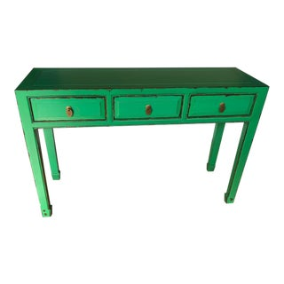 Boho Chic Acid Green 3 Drawer Console Table For Sale