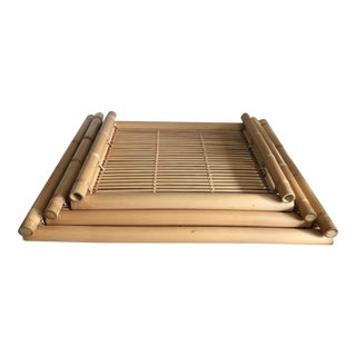 Asian Boho Style Bamboo Trays - Set of 3 For Sale