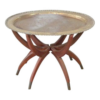 Vintage Moroccan Oval Brass Tea Table For Sale