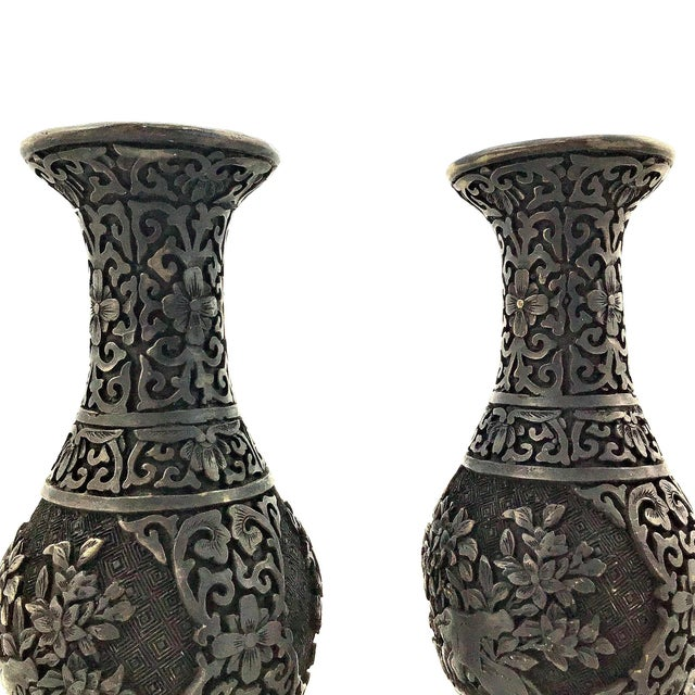 Plastic 1940s Vintage Chinese Hand Carved Resin Vases- a Pair For Sale - Image 7 of 10