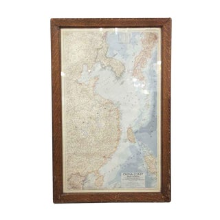 Oak Framed China Coast & Korea Map For Sale