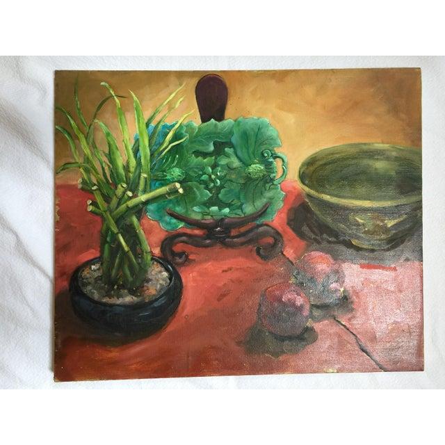 Majolica, Pomegranates & Bamboo Still Life Oil Painting - Image 2 of 7