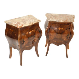 1930s Italian Louis XV Style Bombe Commodes - a Pair