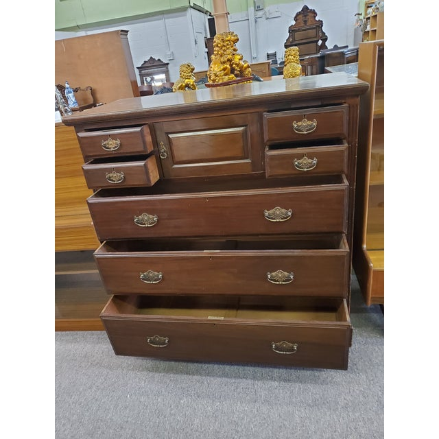Late 19th Century 19th Century Antique Mahogany Chest Of Drawers For Sale - Image 5 of 12
