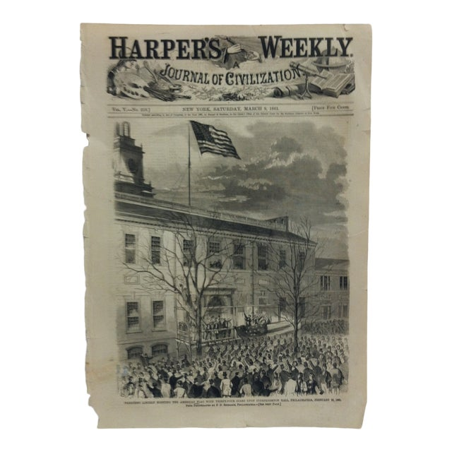 """1861 Antique """"President Lincoln Hoisting the American Flag With Thirty-Four Stars Upon Independence Hall"""" Harper's Weekly Print For Sale"""