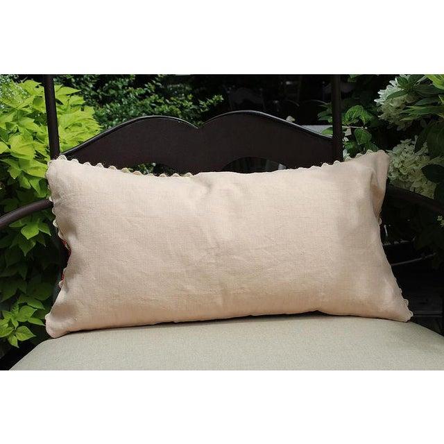 "Vintage Hmong Applique Pillow Black & Pink - 22"" x 11"" - Image 4 of 4"