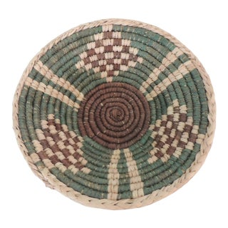 Small Tribal Woven Basket in Natural, Green and Brown For Sale