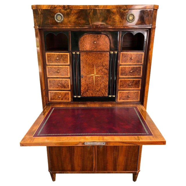 Gorgeous Biedermeier Mixed Wood and Red Leather Secretary Cabinet For Sale