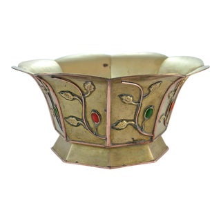 Antique Chinese Brass & Copper Catchall For Sale