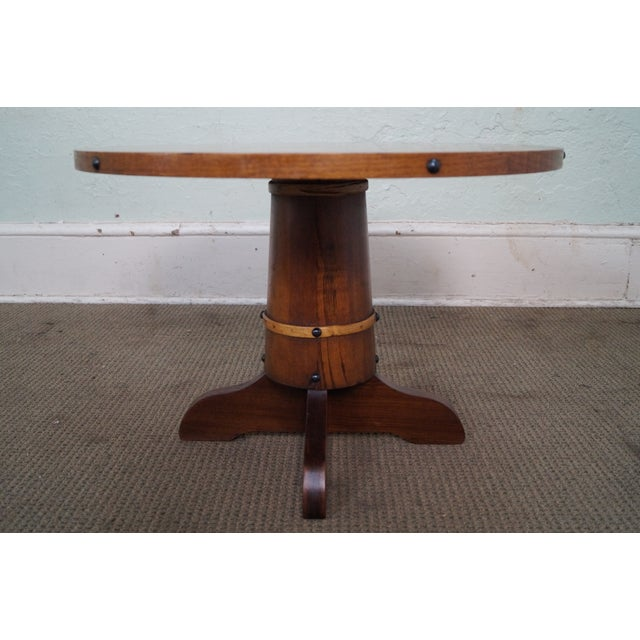 Vintage Oak Round Barrel Base Coffee Table For Sale - Image 5 of 10