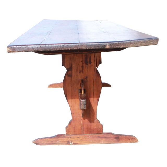 "C. 1890's Pine Farm Table Original, American Aged, rustic Dimensions: 100""l x 32""w x 31""t Condition: Antique. Slightly..."
