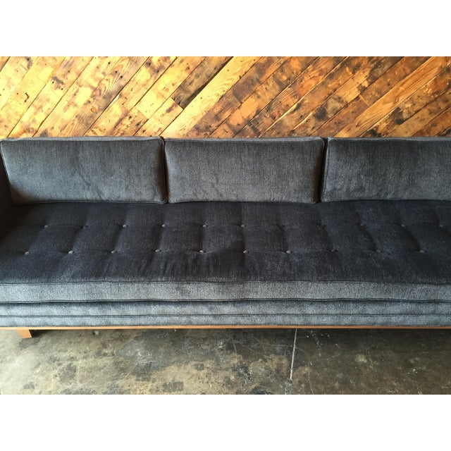 Mid Century Style Custom Walnut Trim Sofa For Sale - Image 5 of 8