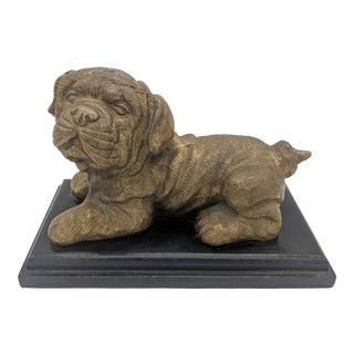 Vintage Brass Pug Puppy Dog on Black Wood Base For Sale