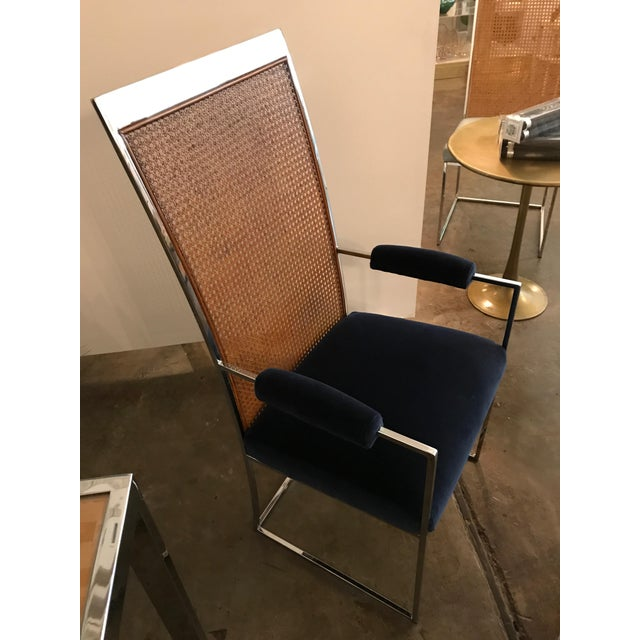 Mid Century Modern S/ 8 Milo Baughman Newly Upholstered Chrome & Cane Back Dining Chairs - Image 9 of 10
