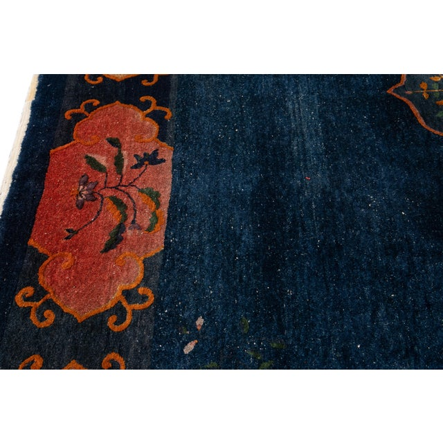 Early 20th Century Antique Art Deco Chinese Square Wool Rug 13 X 12 For Sale - Image 10 of 13
