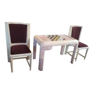 Spectacular Karl Springer Pink Shargreen, Onyx, Chrome and Mother of Pearl Game Table With Chairs For Sale