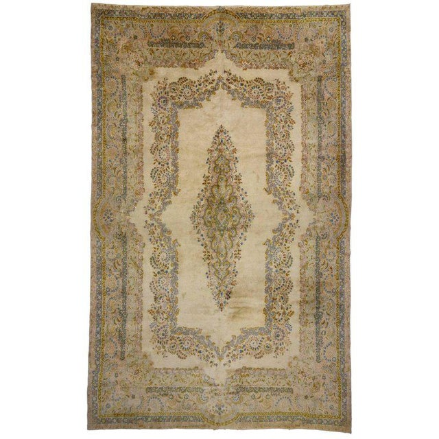 Antique Persian Kerman Rug with Traditional Style in Light Colors For Sale - Image 10 of 10