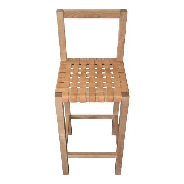 Modern Scandinavian Modern Birch Leather Woven Counter Stool For Sale