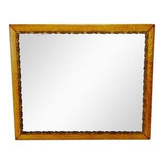Antique Oak Framed Mirror With Gilt Filigree Carved Wood Trim For Sale