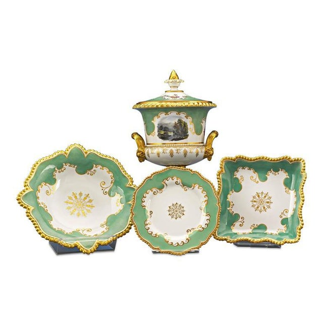 This exceptional porcelain dessert service was crafted by the Flight, Barr and Barr Royal Worcester porcelain manufactory....