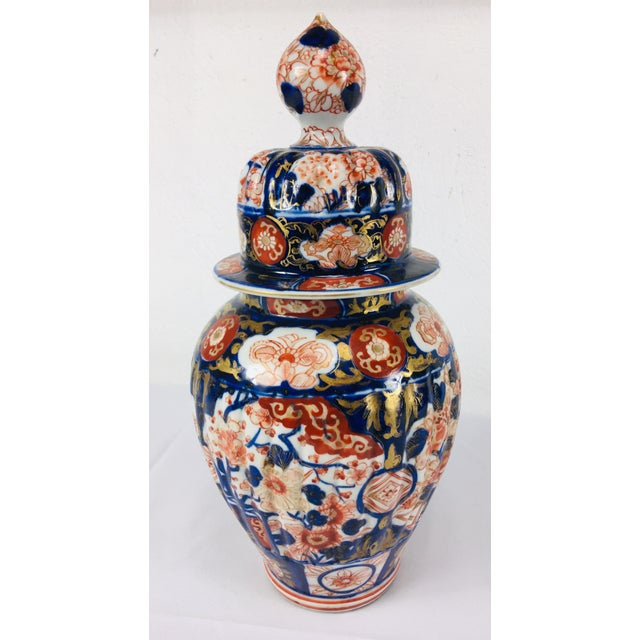 Blue 19th Century Hand Painted Japanese Vase With Lid For Sale - Image 8 of 11