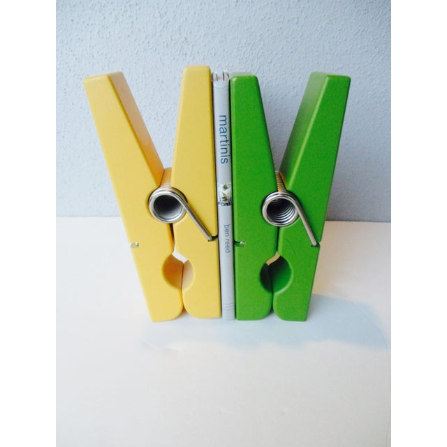 Pop Art Chartreuse & Yellow Clothespin Paperclips - a Pair For Sale In Phoenix - Image 6 of 9