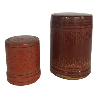 Mid 20th Century Lacquered Round Nesting Boxes-a Pair For Sale