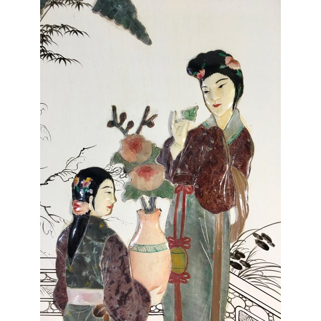 Chinese Chinese Mid-Century Gemstone Figural Wall Panel For Sale - Image 3 of 9
