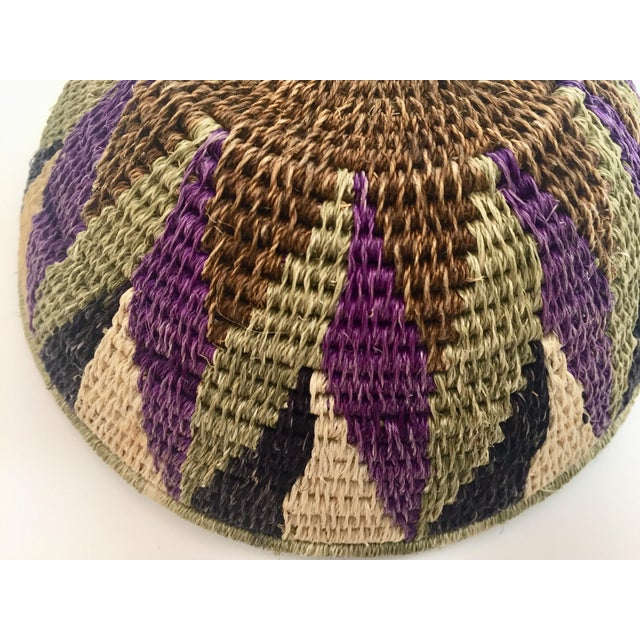 Native American Polychrome Seagrass and Silk Woven Basket For Sale - Image 9 of 12
