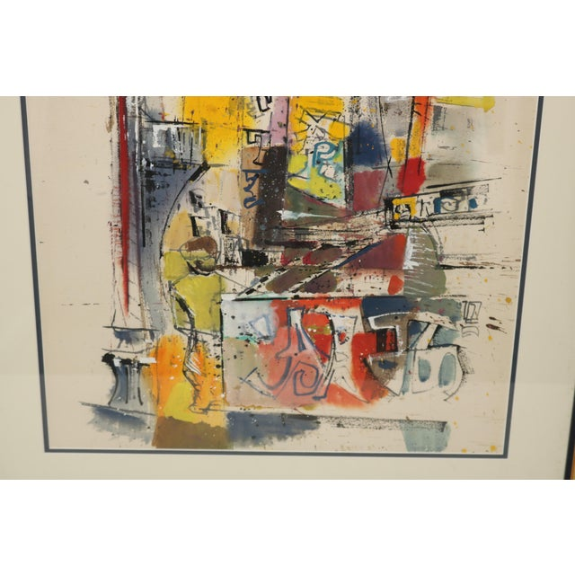 Vintage 1955 Charles LeClair Abstract Framed Watercolor Painting For Sale - Image 5 of 8