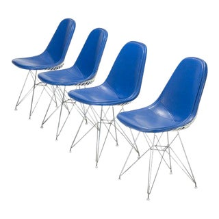 1951 Vintage Eames for Herman Miller Dkr-1 Blue Vinyl and White Steel Dining Chairs - Set of 4 For Sale