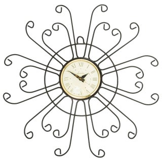 Lanshire Curled Iron Sunburst Clock, Circa 1950 For Sale