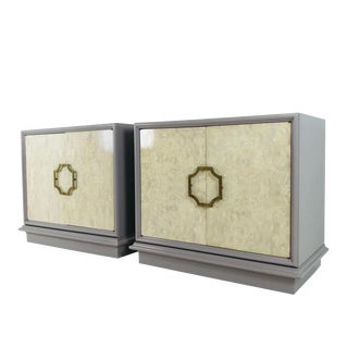 Pair of Mastercraft Bachelor Burl and Lacquer Cabinets For Sale