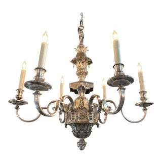 19th Century English Neoclassical Silver over Bronze 6 Light Chandelier For Sale