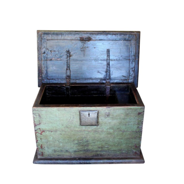 Offering a phenomenal historic trunk from 18th century China. Circa 1780s. Huge, 3 inch thick slabs of hardwood make up...