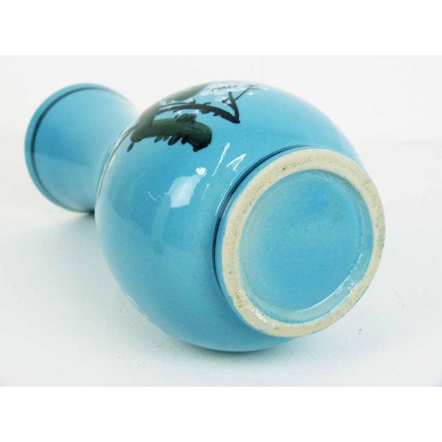 Japanese Blue Glaze Hand Painted Blossom Vase - Image 5 of 7