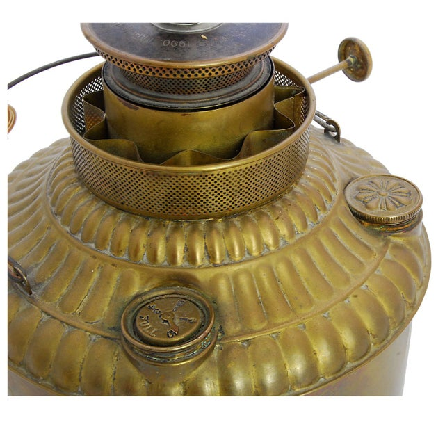 Converted Antique Brass Oil Lamp - Image 3 of 4