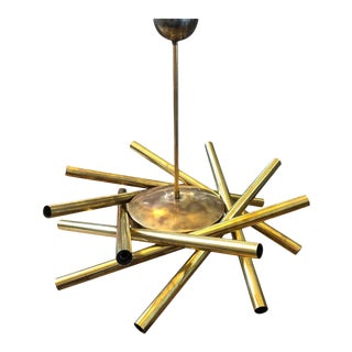 1950sItalian Mid-Century Modern Stilnovo Brass 16-Light Sputnik Chandelier For Sale