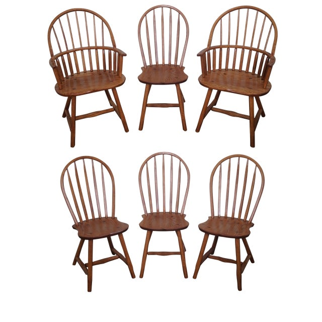 Set Of 6 Dining Chairs: Hunt Country Furniture Oak Windsor Dining Chairs