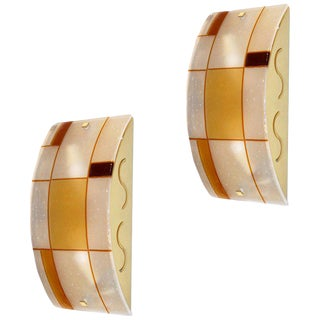 1960s Italian Orange Ivory Murano Glass Mondrian Design Sconces - a Pair For Sale
