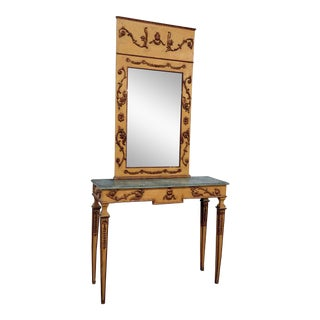 20th Century Neoclassical Paint Decorated Console & Mirror - 2 Pieces For Sale